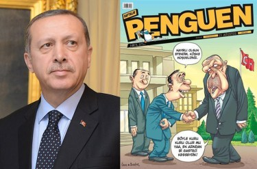 President Erdogan, left, with Penguen magazine cover