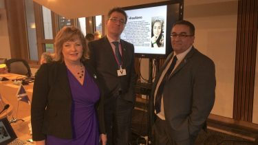 A photograph Fiona Hyslop MSP, Cabinet Secretary for Culture, Europe & External Affairs, Terry Anderson and Christian Allard MSP