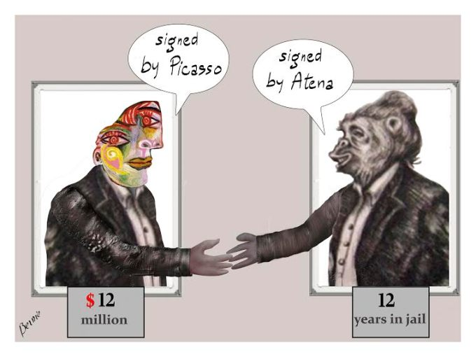 """A Picasso painting saying """"Signed by Picasso"""" shaking hands with an Atena Farghadani cartoon saying """"Signed by Atena."""" Under the Picasso is printed """"$12 million."""" And printed under the Atena cartoon: """"12 years."""""""