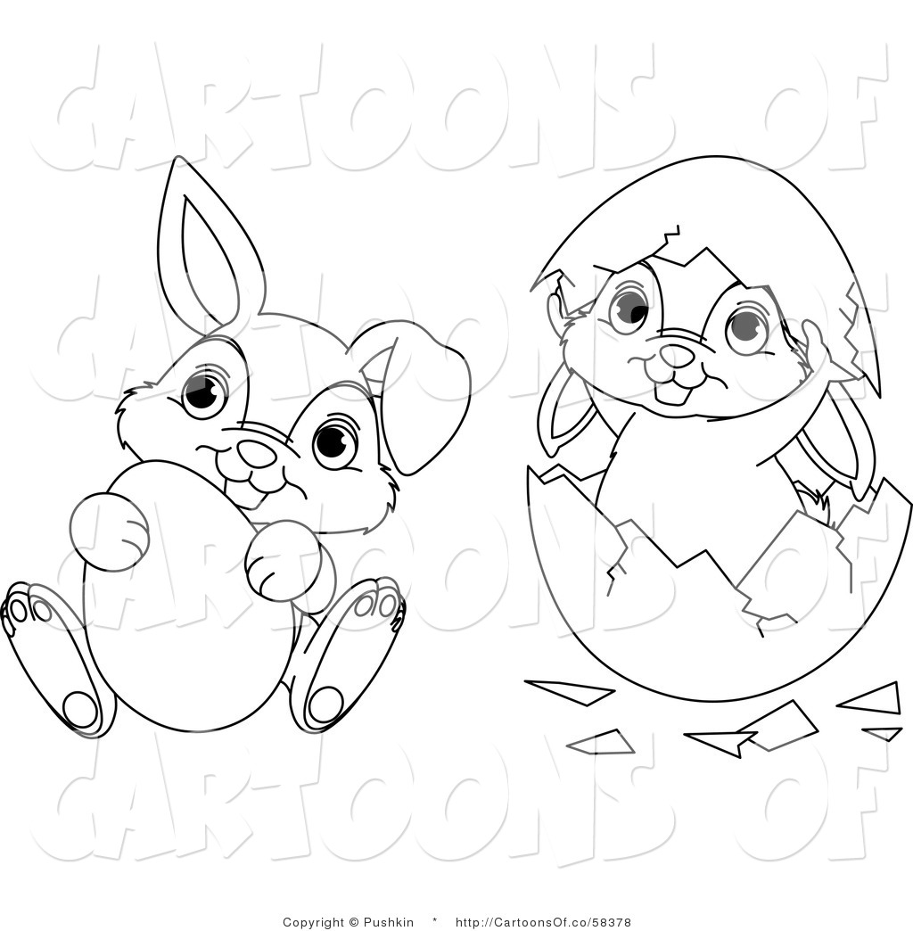 Vector Cartoon Illustration Of Outlined Easter Bunnies Egg