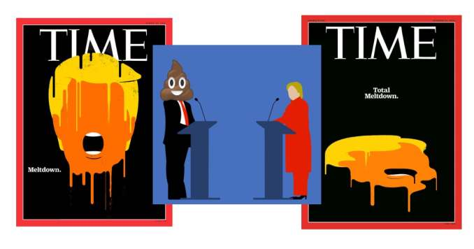 2016 Magazine Covers and self-published image of debate with Hillary Clinton
