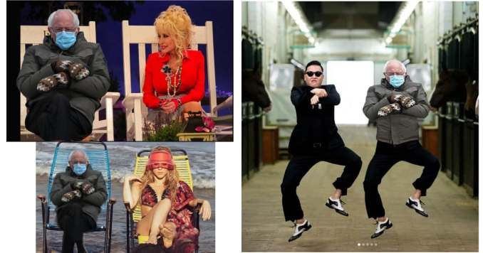 Bernie and Dolly Parton by Instagram user @cassieabrowning / Bernie and Shakira by Instagram user @maishakifan / Bernie Gangnam Style by Instagram user @dergerderather