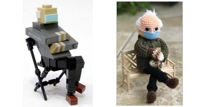 Lego Bernie by Instagram user @ochre.jelly / Crochet Bernie Kit sold on Etsy