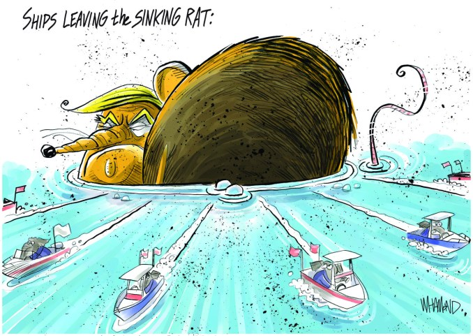 Ships leaving the sinking rat by Dave Whamond, Canada, PoliticalCartoons.com