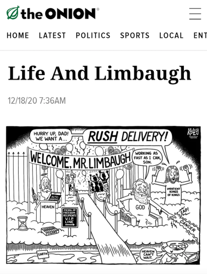 Limbaugh's Death in The Onion
