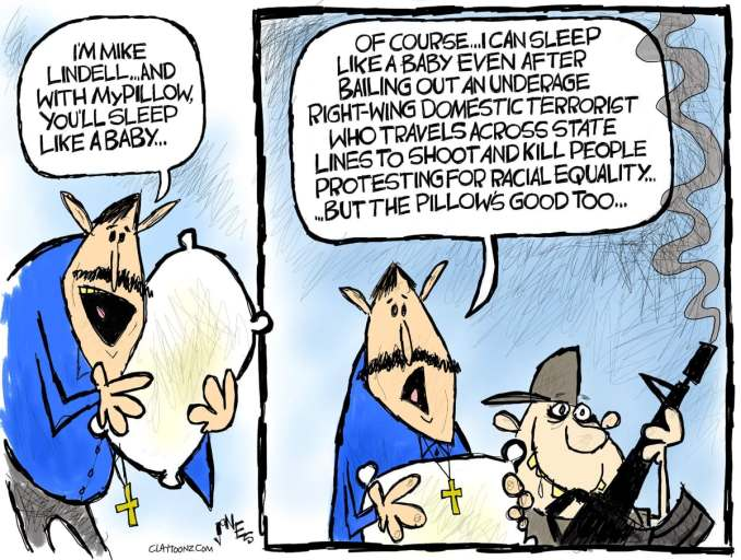 Mike Lindell and Kyle Rittenhouse by Clay Jones @claytoonz