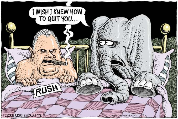 Quitting Rush COLOR by Monte Wolverton, 2009 Cagle Cartoons
