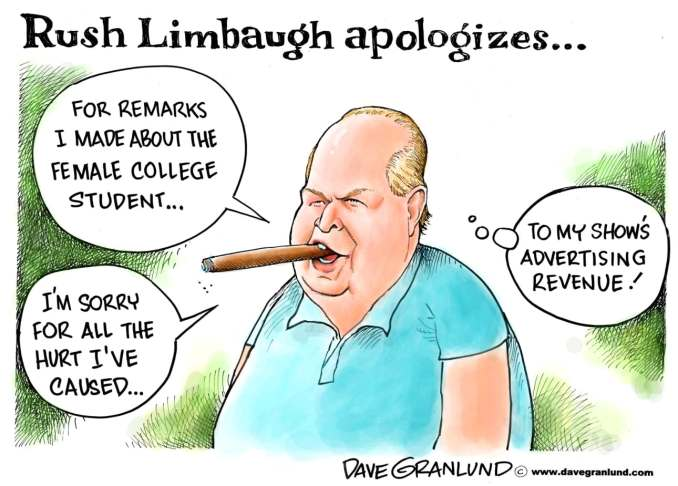 Rush Limbaugh Apology by Dave Granlund, 2012 Politicalcartoons.com