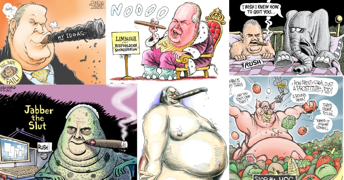 Decades of Cartoons Define Rush Limbaugh's Toxic Legacy