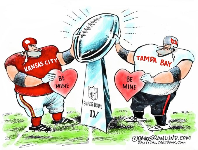 Super Bowl 55 KC vs Bucs by Dave Granlund, PoliticalCartoons.com