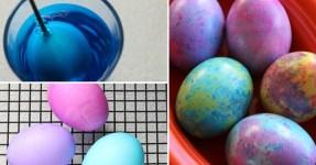 Mramorovaná velikonoční vajíčka pomocí oleje, octa a barviva