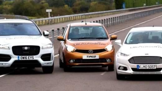 Jaguar F-Pace - Tata Tiago - Ford Mondeo for UK Autonomous Car