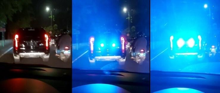 Mobil dengan Lampu Sorot Strobo yang berkelap-kelip