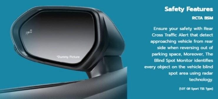 Fitur Blind Spot Monitoring dan Rear Cross Traffic Alert