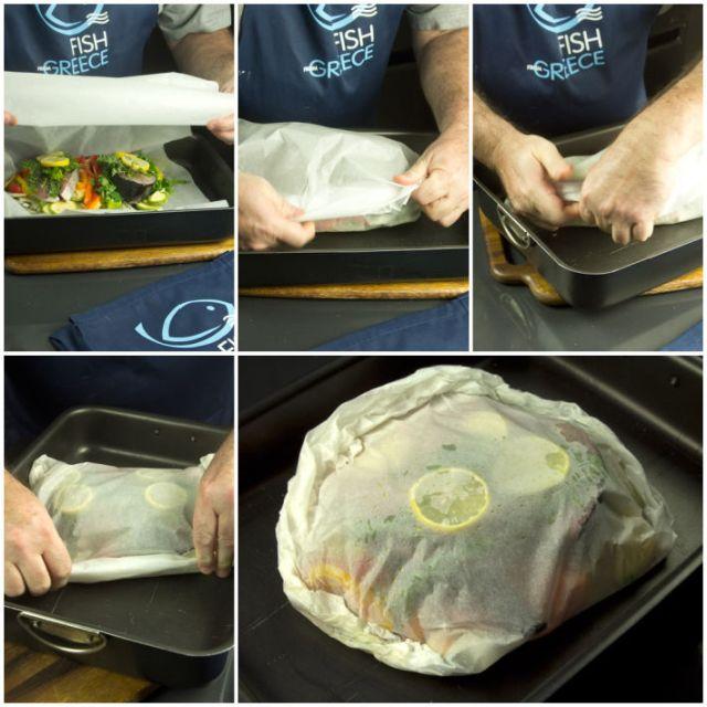 μαγιάτικο ψαρι σε λαδόκολλα με λαχανικά