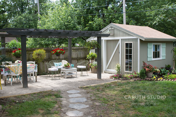 shed and patio with finished pergola and seating