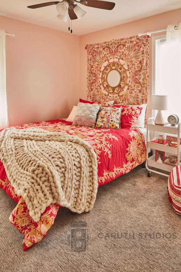Small boho bedroom after