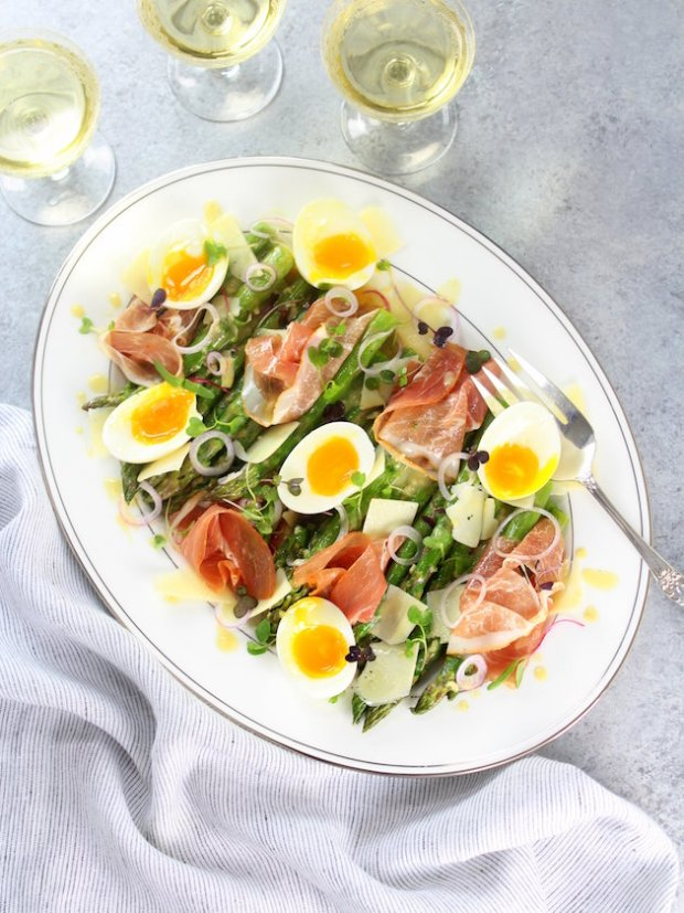 Asparagus-Salad-with-Prosciutto-Eggs-and-Dijon-Vinaigrette-rect-OT-platter-wine