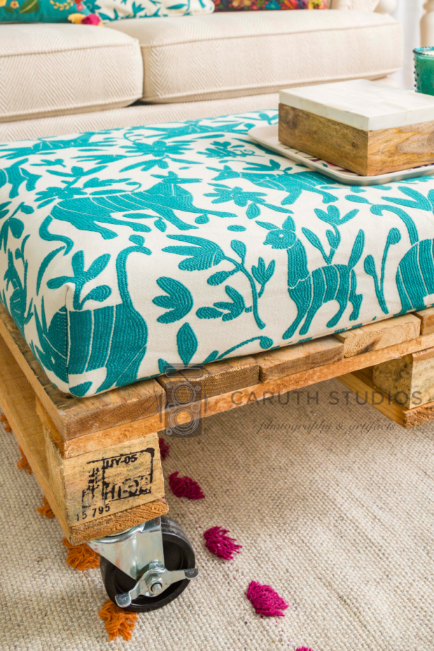 Otomi fabric covered ottoman