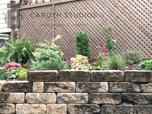 prennial plants in retaining wall
