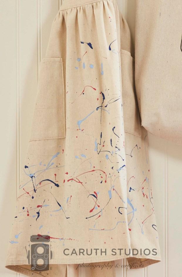 Drop cloth apron paint detail