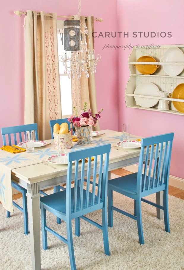 Drop cloth dining room overall