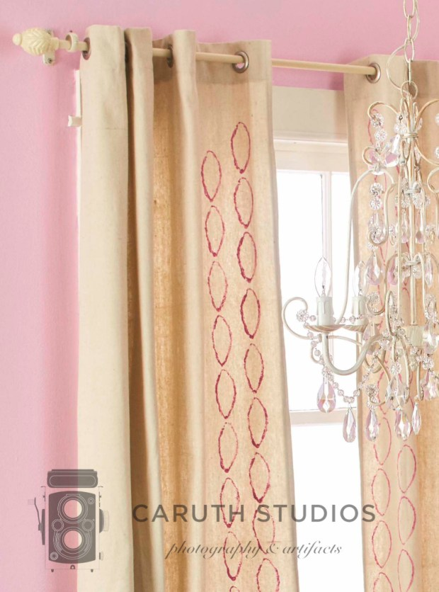 Stamped drop cloth curtains
