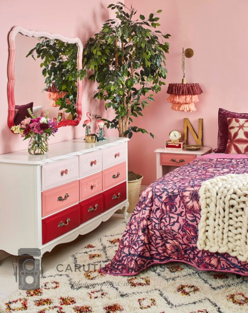 Bedroom with painted furniture