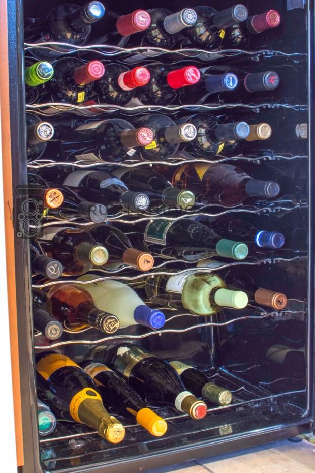 fully stocked wine fridge