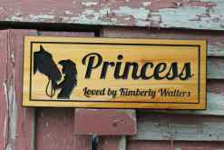 carved horse stall sign
