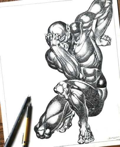 """""""Kneeling Man"""" - 14x17 ink drawing. Reference from cover of Burne Hogath's """"Dynamic Anatomy""""."""