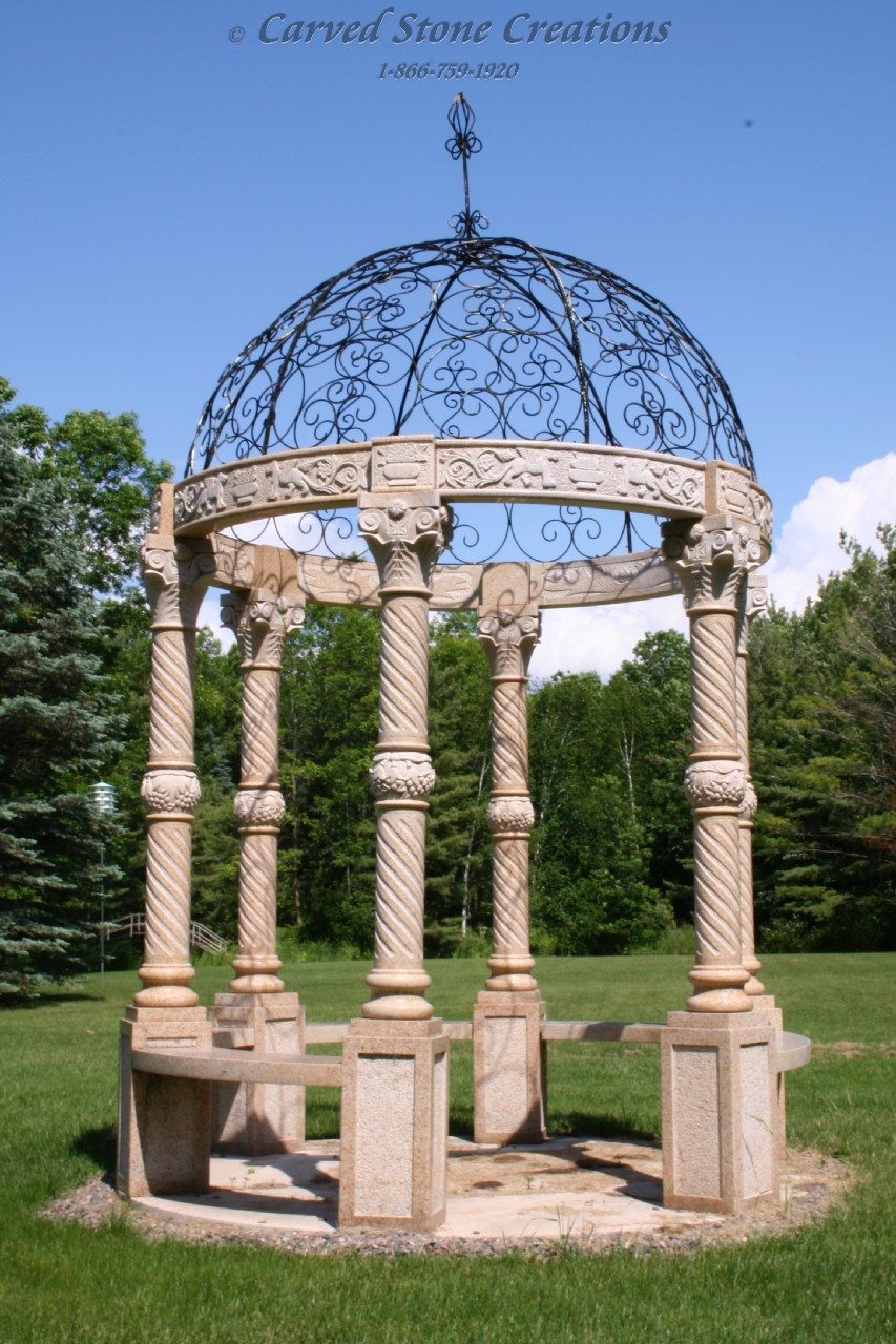 8ft Gazebo W Dome Amp Floor Carved Stone Creations