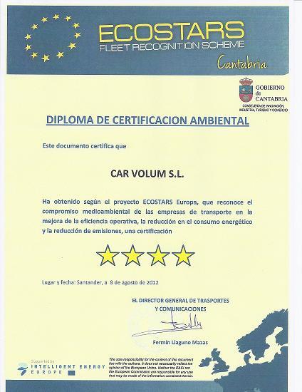 Diploma de certificación ambiental