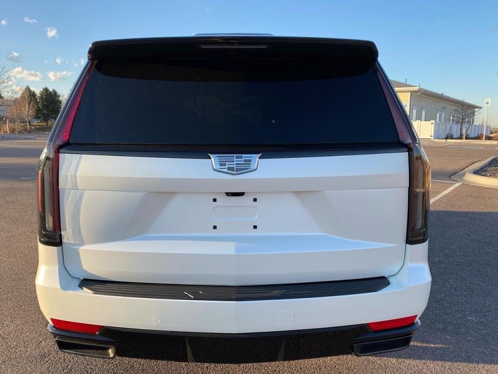 white Cadillac Escalade window tint back view