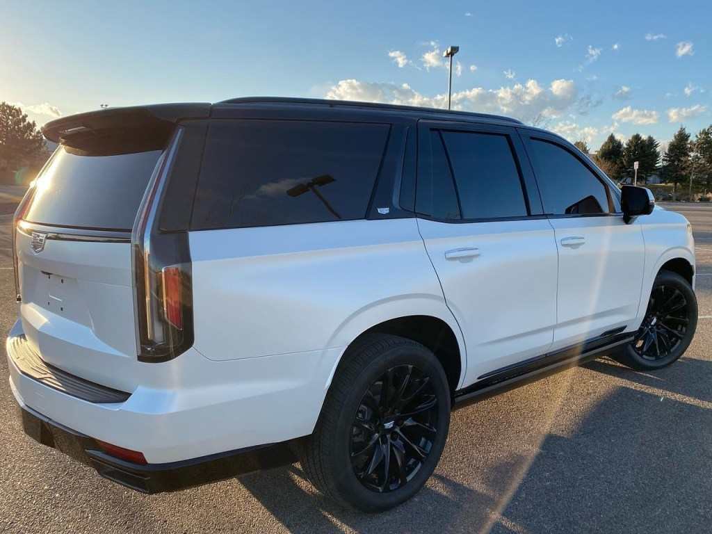 white Cadillac Escalade window tinting back side view