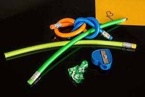 colorful rubber pencils tied in knots