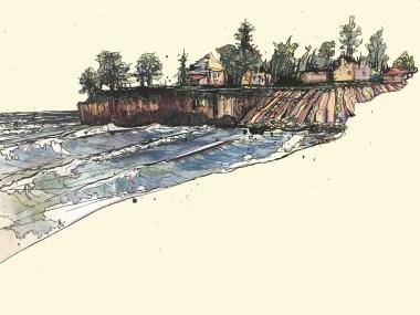 Ink and Watercolor reimagining of Santa Cruz sea cliff