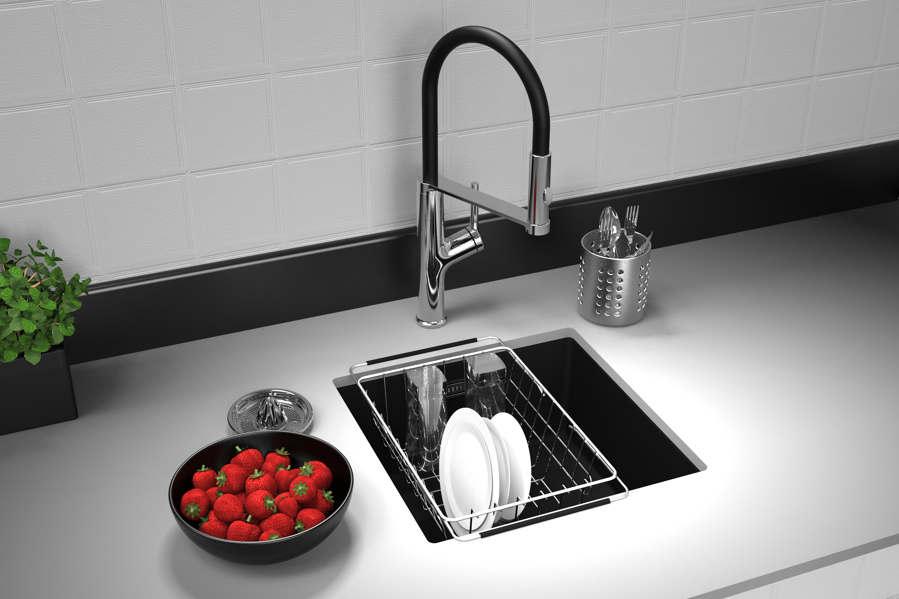 concrete sink with black faucet undermount by carysil