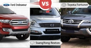 New Ford Endeavour vs SsangYong Rexton vs Toyota Fortuner