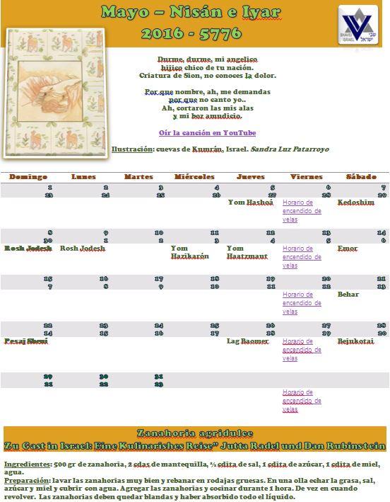 Calendario del mes de mayo