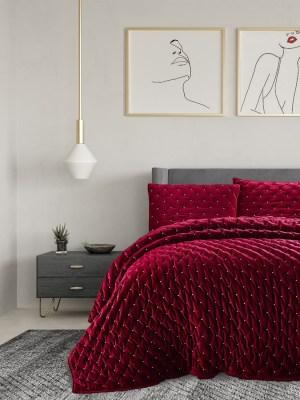 Βελούδινο Πάπλωμα Υπέρδιπλο με Μαξιλαροθήκες 220x240 Luxury Velvet Burgundy