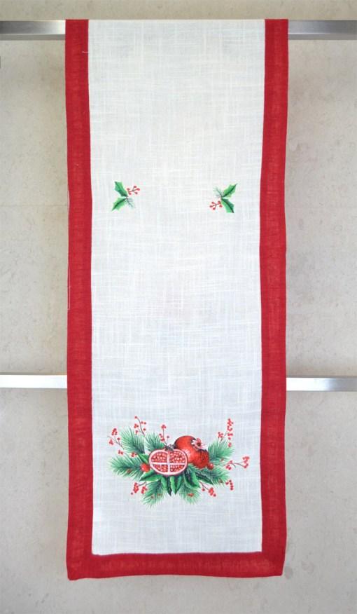 τραβέρσα-χριστουγεννιάτικη-λινή-45×170-κέντημα-ρόδια
