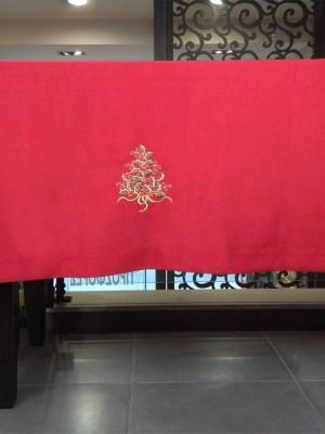 Τραπεζομάντηλο Χριστουγεννιάτικο Λινό με Κέντημα 160x230 Γκι Red 216