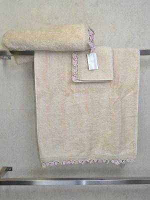 Πετσέτες Σετ τριών τεμαχίων με Δαντέλα Ροζ LAURA ASHLEY Bells Beige