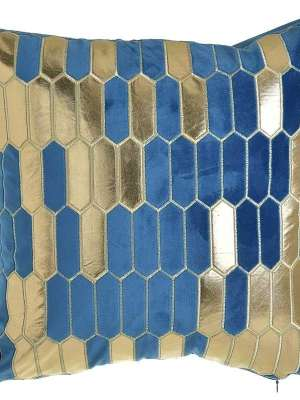 INART Μαξιλάρι Φιγούρας Βελούδινο 45x45 Μπλε/Χρυσό 3-40-865-0222