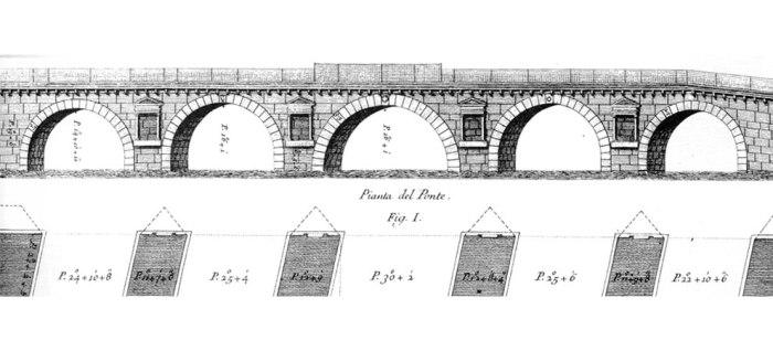 Ponte di Tiberio - Desenho Técnico - Imagem: seidiriminise.it