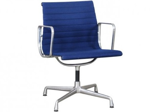 Vitra Eames EA108 blue hopsak aluminium group chair 1a