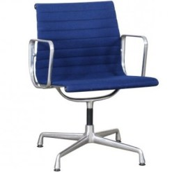 Vitra Eames EA108 blue hopsak aluminium group chair 1a