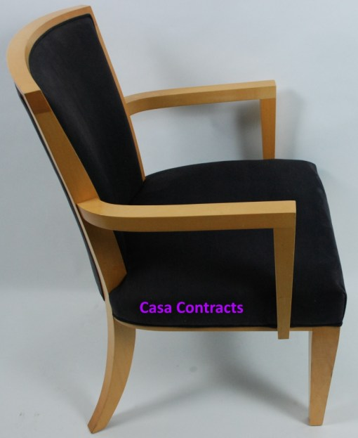 HBF Side Canteen Chair in Cherry Fabric Wooden Frame 6a