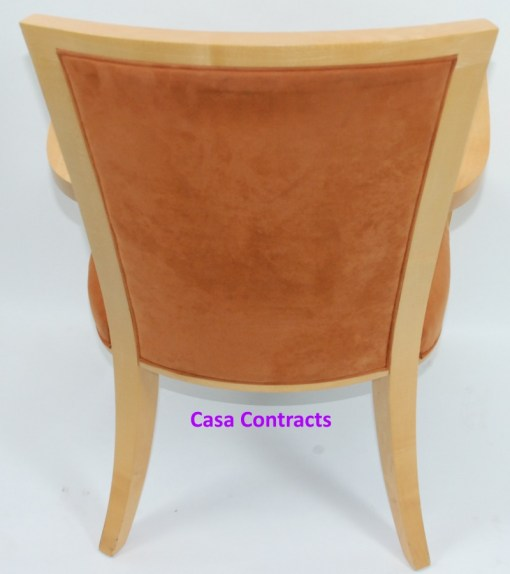 HBF Side Canteen Chair in Tan Fabric Wooden Frame 5a